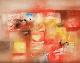 Red Abstract I by Harendra Shah, Abstract Painting, Oil on Canvas, Brown color