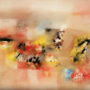 Red Abstract II by Harendra Shah, Abstract , Oil on Canvas, Beige color