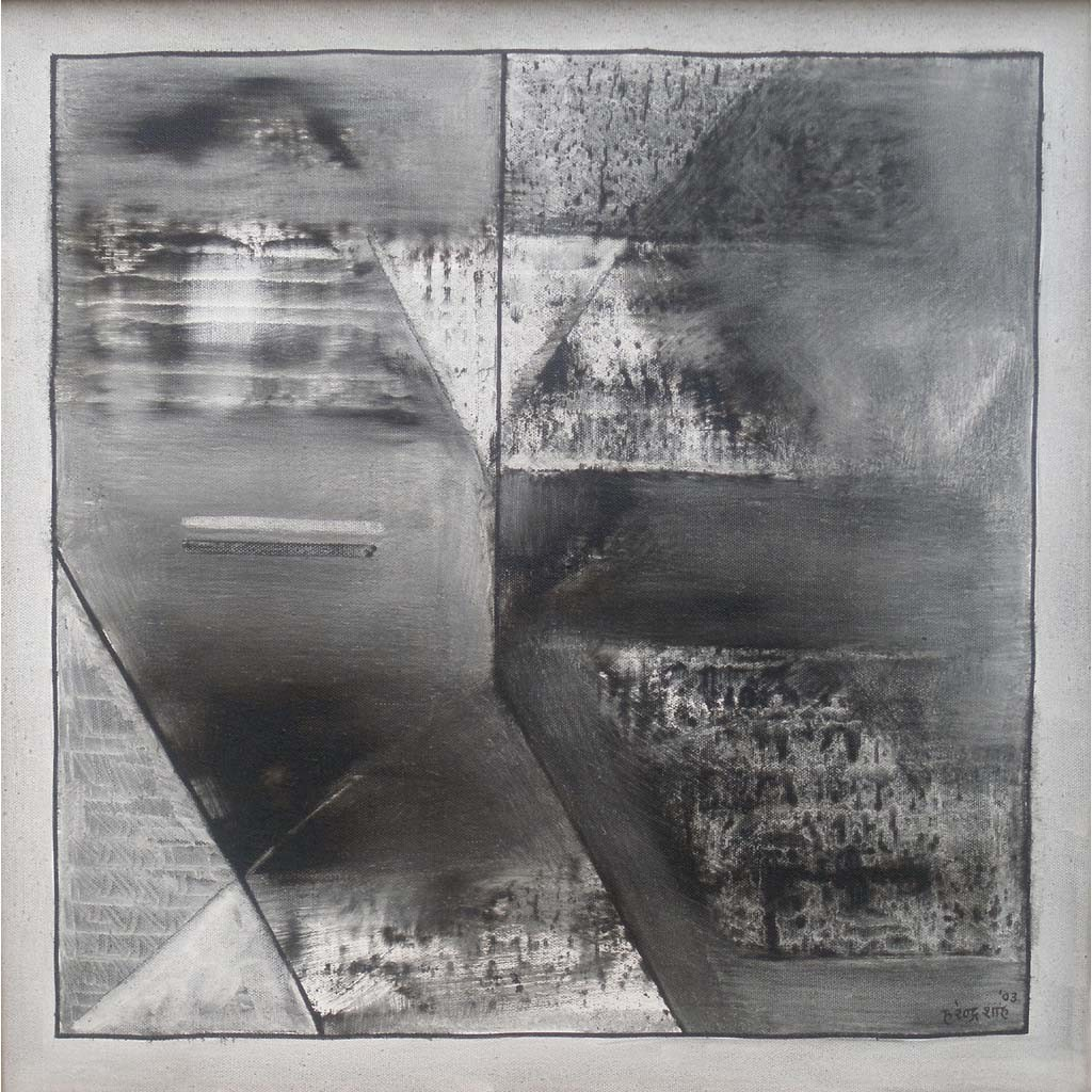 Black & White Abstract - I by Harendra Shah, Abstract , Oil on Canvas, Gray color