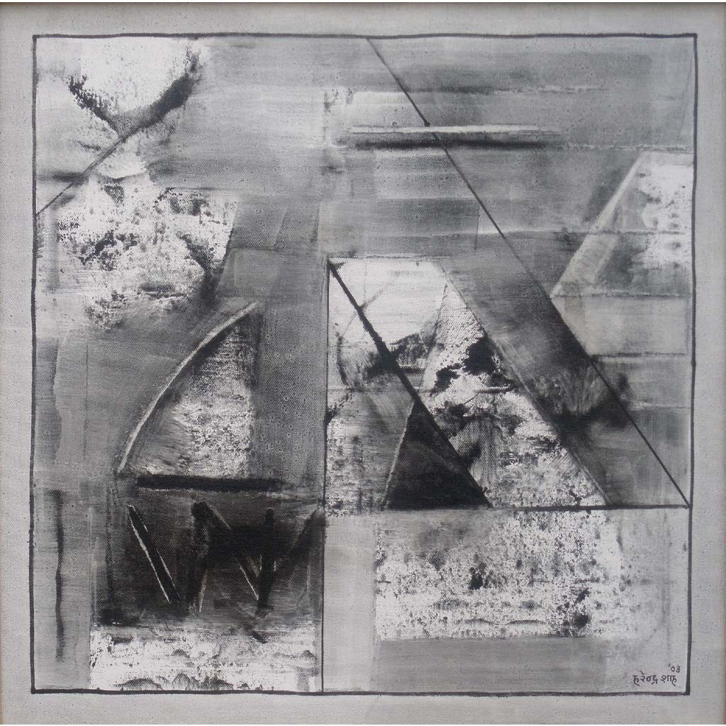 Black & White Abstract by Harendra Shah, Abstract Painting, Oil on Canvas, Gray color