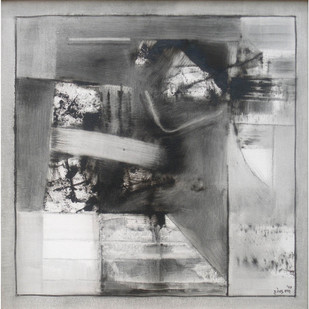 Black & White Abstract by Harendra Shah, Abstract , Oil on Canvas, Gray color