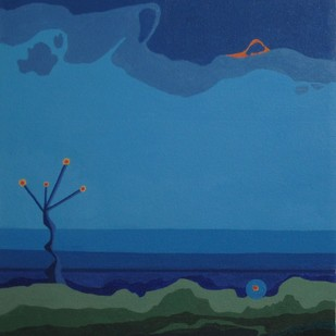 Wonderlust by Kaushik Bose, Minmalism Painting, Acrylic on Canvas, Blue color