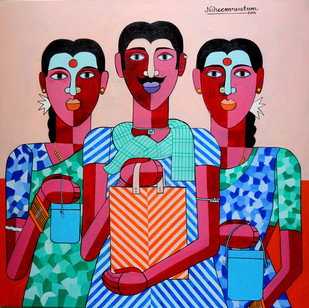 Farm Labour by Naheem Rustum, Decorative Painting, Acrylic on Canvas, Pink color