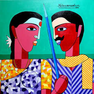 Village Work by Naheem Rustum, Decorative Painting, Acrylic on Canvas, Cyan color