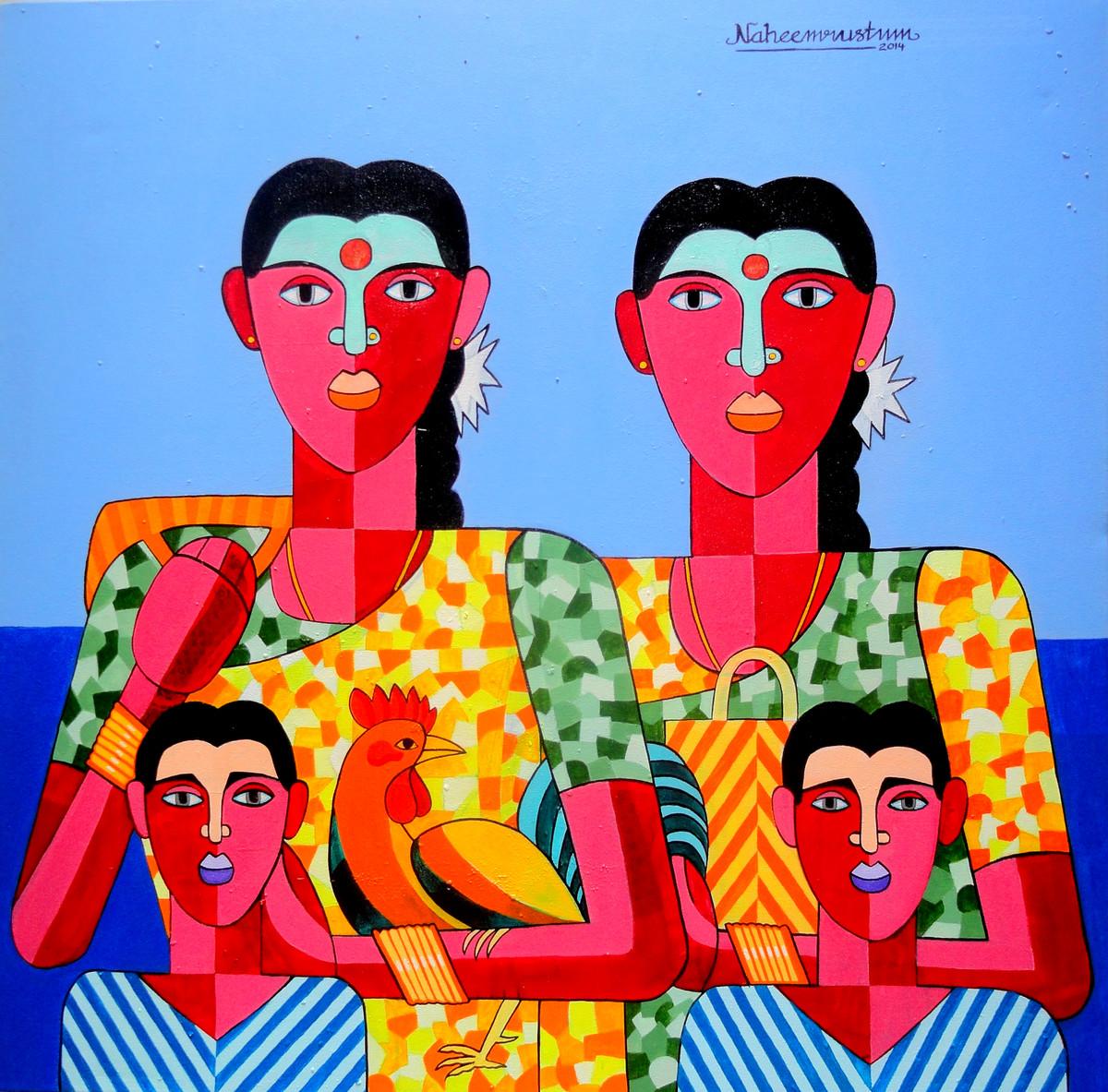 Jathara by Naheem Rustum, Decorative Painting, Acrylic on Canvas, Cyan color