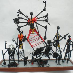 Durga by Uttam Manna, Decorative Sculpture   3D, Metal, Gray color
