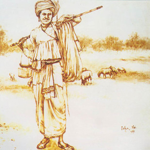 Shepherd by Isha Mohammad, Illustration Painting, Oil on Canvas, Beige color