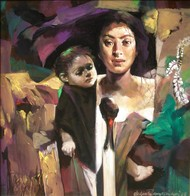 Mother & Child by Subrata Gangopadhyay, Realism Painting, Acrylic on Canvas, Brown color