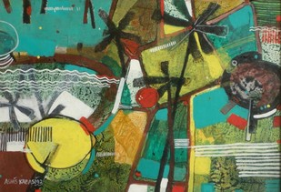 Air View by Ashis Kabasi, Conceptual Painting, Acrylic on Paper, Green color