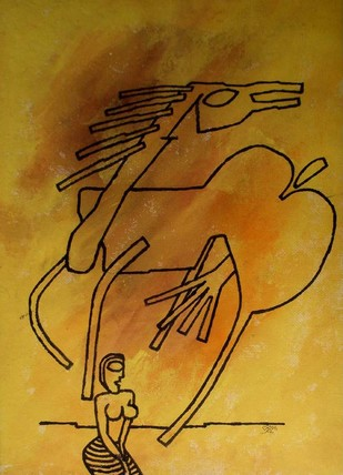 Horse with Girl by Prokash Karmakar, , , Brown color