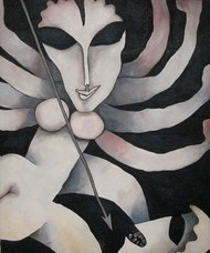 Durga by Prokash Karmakar, Decorative Painting, Acrylic on Canvas, Gray color