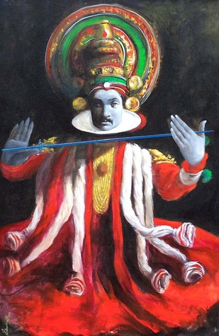Mask I by Saumya Bandyopadhyay, Traditional Painting, Acrylic on Canvas, Brown color