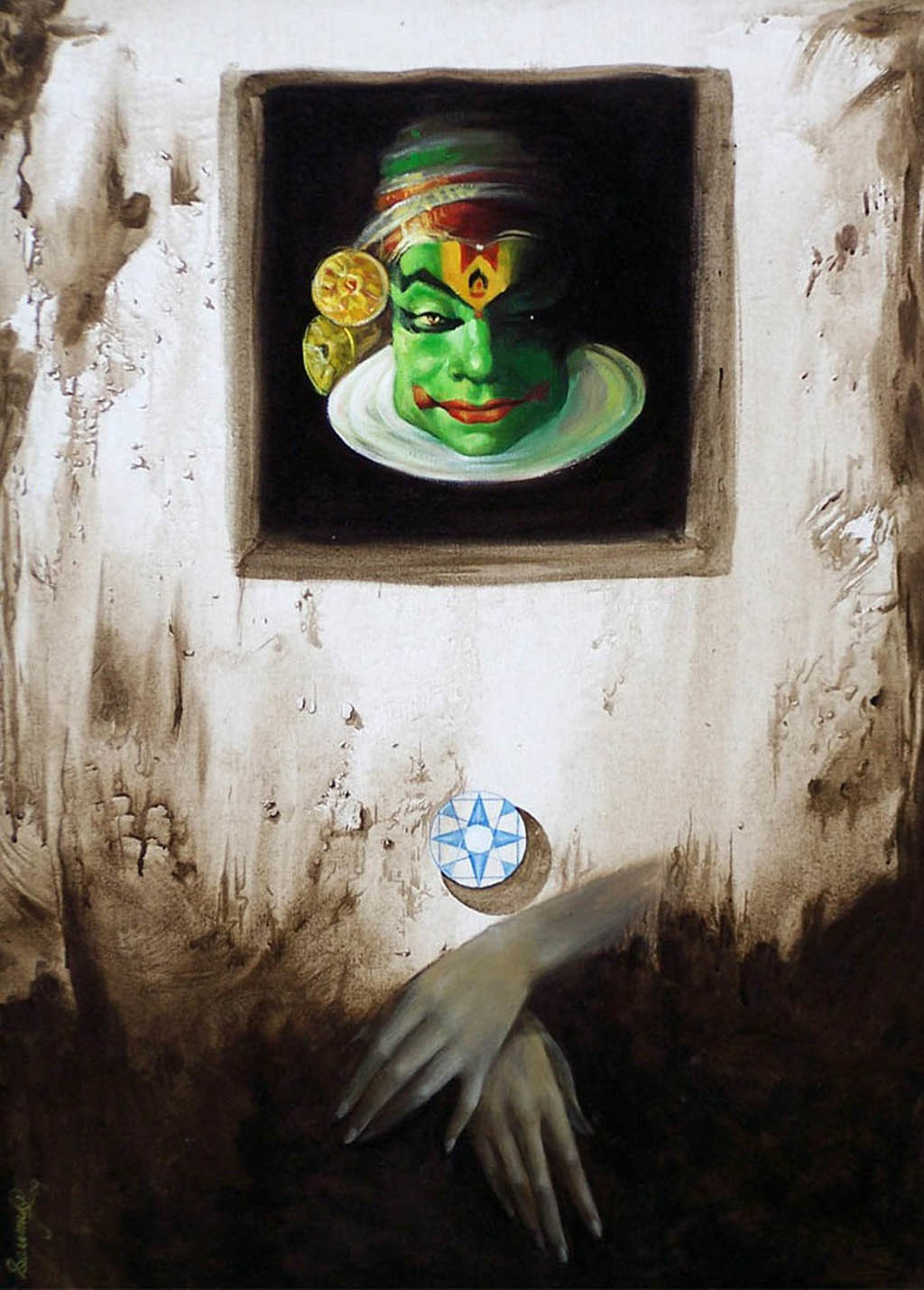 Mask II by Saumya Bandyopadhyay, Surrealism Painting, Acrylic on Canvas, Gray color