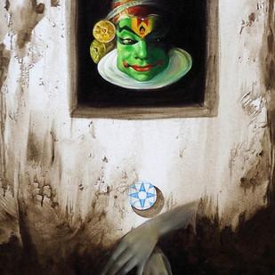 Mask II by Saumya Bandyopadhyay, Surrealism Painting, Acrylic on Canvas, Gray color