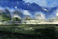 Before Rains by Asim Paul, Impressionism Painting, Watercolor on Paper, Blue color