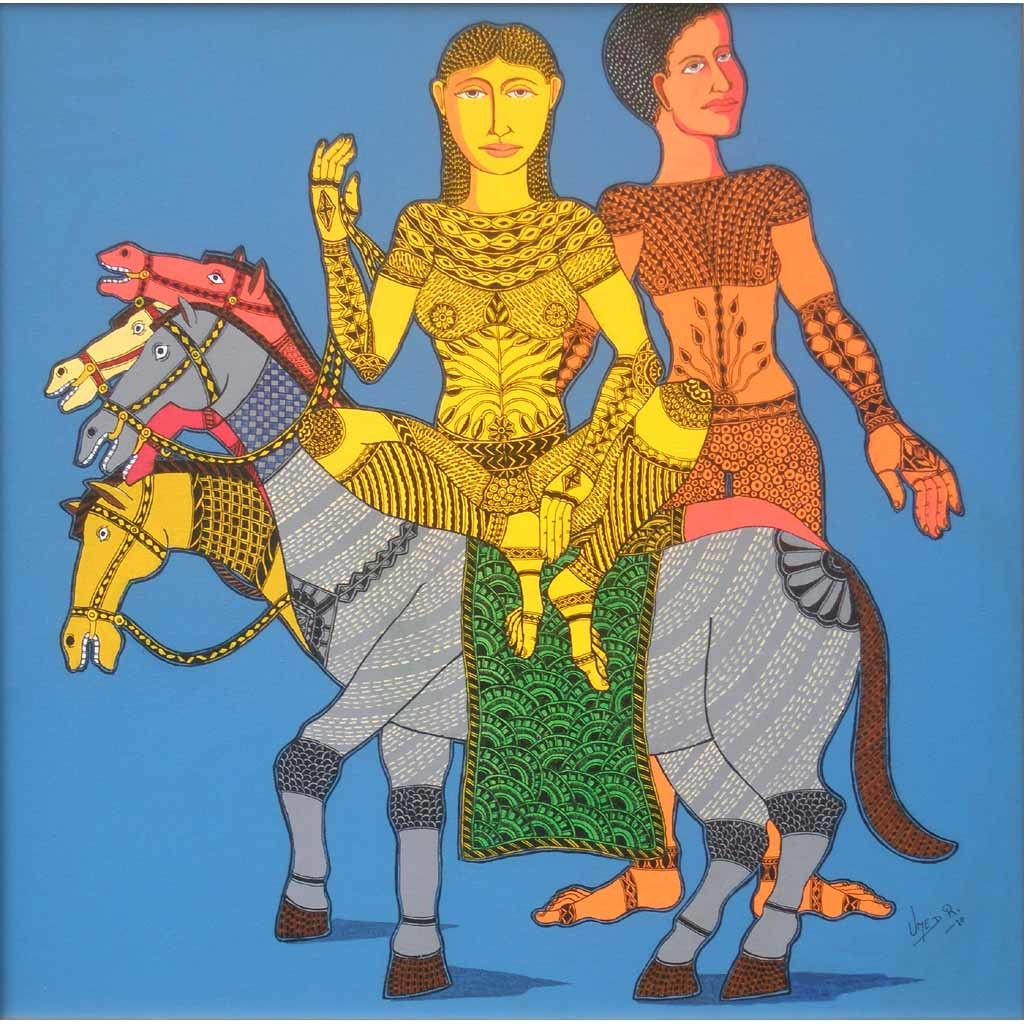 Untitled by Umed Rawat, Conceptual Painting, Acrylic on Canvas, Blue color