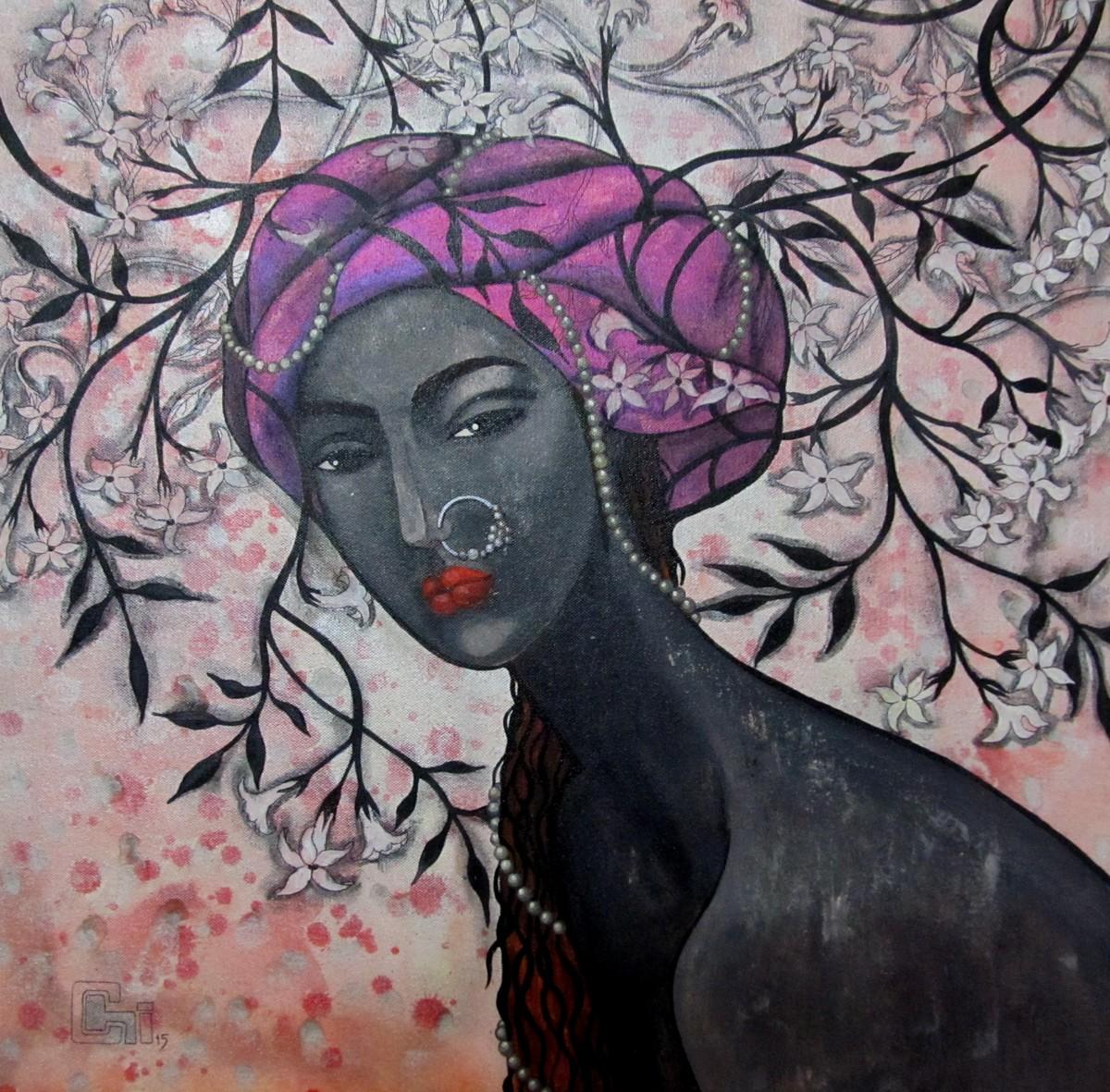 The Mind Weaving Designs by Suruchi Jamkar, Decorative Painting, Acrylic & Ink on Canvas, Gray color