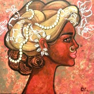 Contentment by Suruchi Jamkar, Decorative Painting, Acrylic on Canvas, Brown color