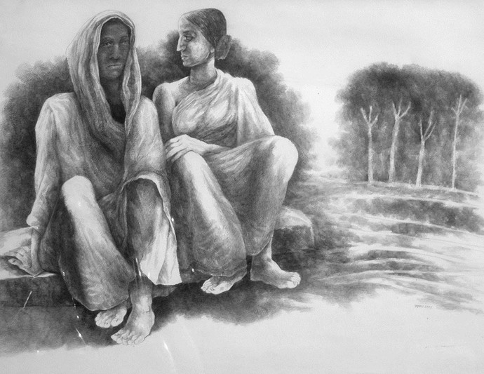 Man & Woman by Tapan Ghosh, Illustration Drawing, Pencil on Paper, Gray color