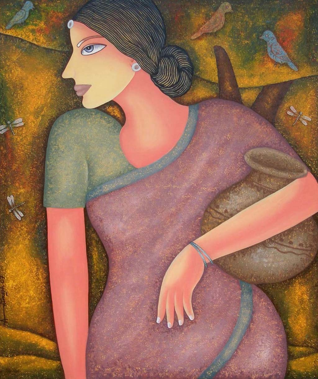 Untitled by Animesh Biswas, Decorative Painting, Acrylic on Canvas, Brown color