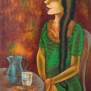 Untitled by Animesh Biswas, Decorative Painting, Pastel on Paper, Brown color