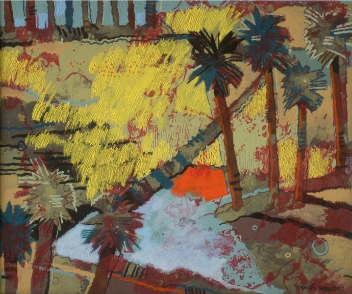 Palmy by Debashis Kabasi, Impressionism Painting, Acrylic on Canvas, Brown color
