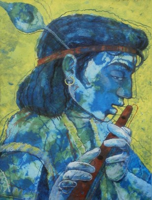 Krishna by Debashis Kabasi, Decorative Painting, Acrylic on Paper, Green color