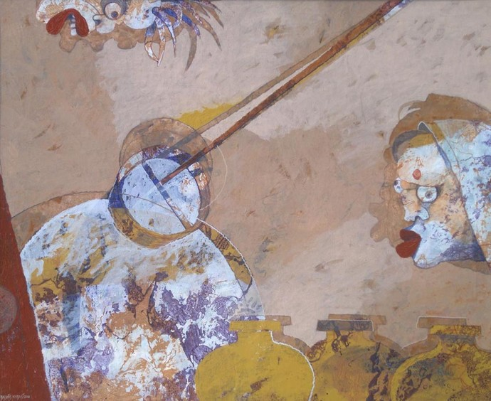 Earnest Desire by Debashis Kabasi, Decorative Painting, Acrylic on Canvas, Brown color