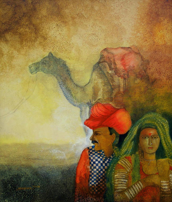 Camel with Couple by Debabrata Chakraborty, Decorative Painting, Acrylic on Canvas, Brown color