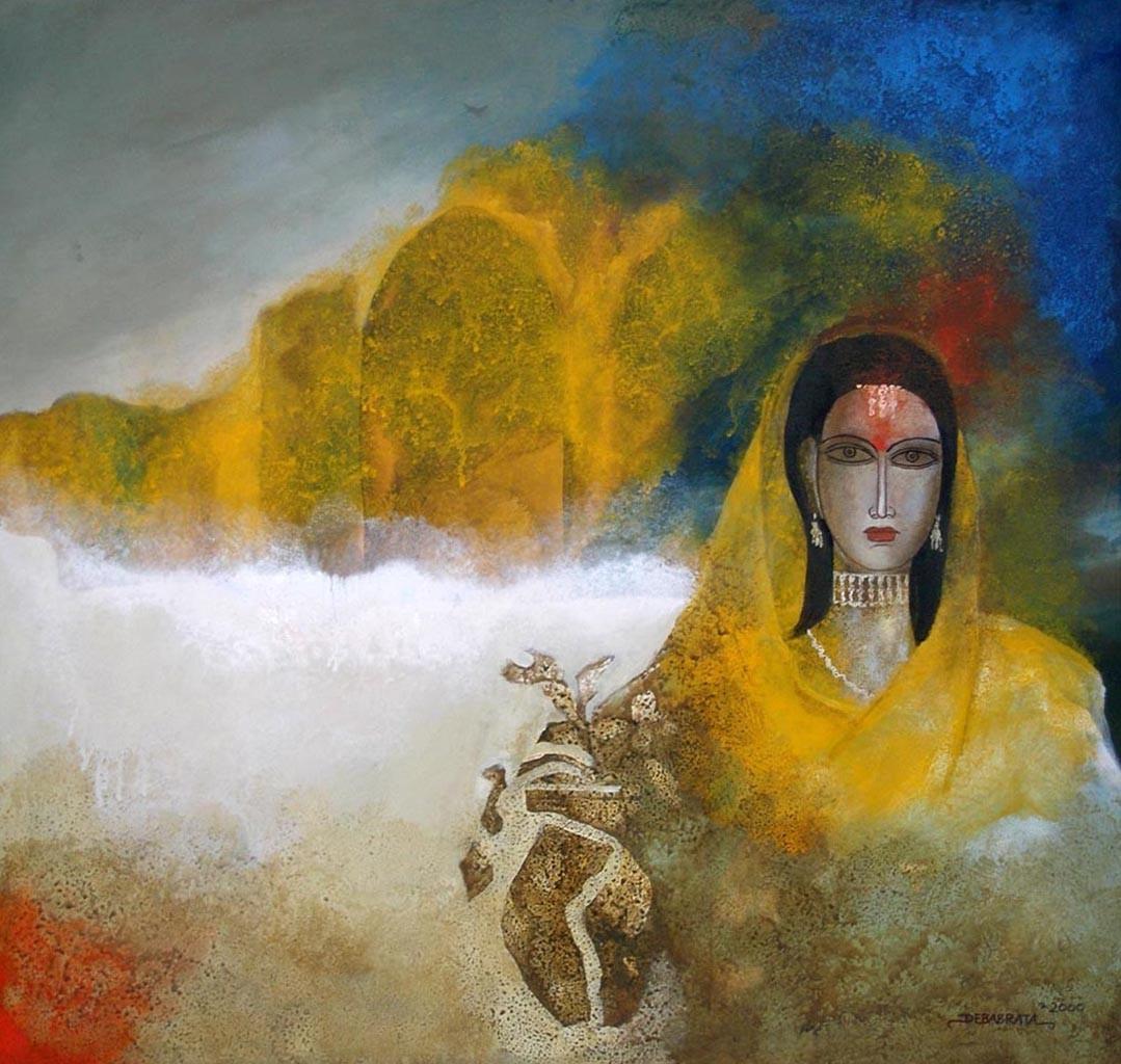 She by Debabrata Chakraborty, Decorative Painting, Acrylic on Canvas, Green color