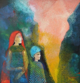 Mother & Son by Debabrata Chakraborty, Decorative Painting, Acrylic on Canvas, Green color