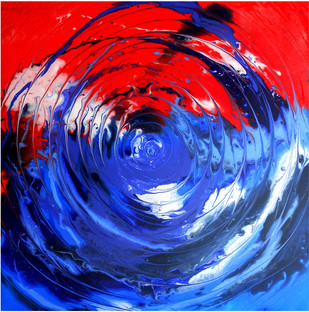 Inside by Avtar Singh, Abstract Painting, Acrylic on Canvas, Blue color