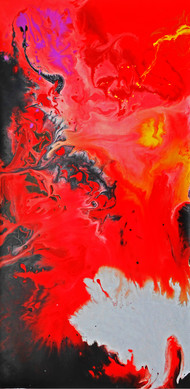 The Fire by Avtar Singh, Abstract Painting, Acrylic on Canvas, Red color