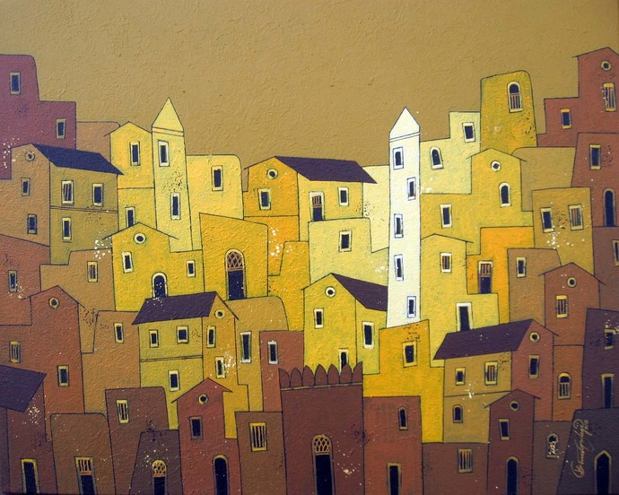 Yellow Village - 763 by Suresh Gulage, Decorative Painting, Acrylic on Canvas, Brown color