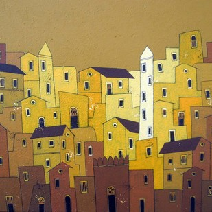 Yellow Village - 763 Digital Print by Suresh Gulage,Decorative