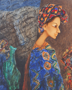A Girl in Blue by Aaloek Sharma, Expressionism , Oil on Canvas, Brown color