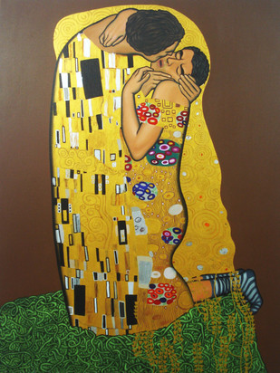 The Kiss by Timir Brahma, Conceptual Painting, Acrylic on Canvas, Brown color