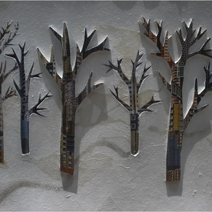 City Scape by Timir Brahma, Impressionism Sculpture   3D, Mixed Media on Board, Gray color