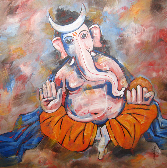 Ganesh - 1122 by Suresh Gulage, Decorative Painting, Acrylic on Canvas, Brown color
