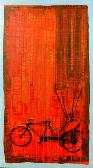 Cycle Rickshaw 2 by Ganesh Jadhav , Pop Art Painting, Acrylic on Canvas, Red color