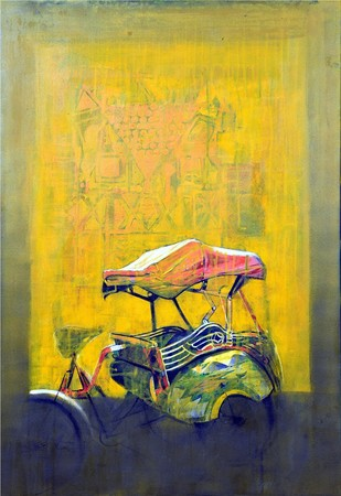 Cycle Rickshaw 6 by Ganesh Jadhav , Pop Art Painting, Oil on Canvas, Beige color
