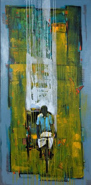Cycle Rickshaw 7 by Ganesh Jadhav , Pop Art Painting, Acrylic on Canvas, Green color