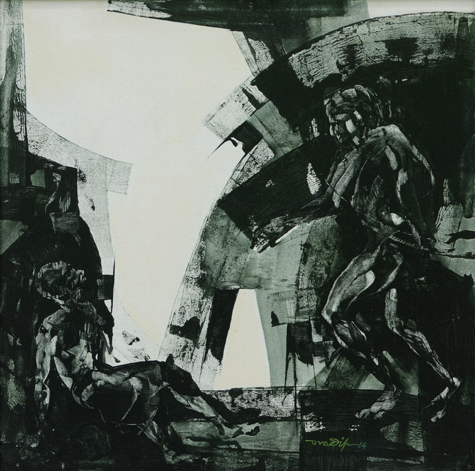 Obstruction 1 by Pradip Muhuri, Conceptual Painting, Acrylic on Canvas, Gray color