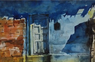 Blue Shadow by Amit Dewhare, Impressionism Painting, Watercolor on Paper, Blue color