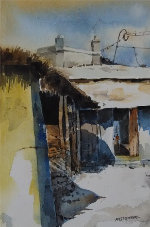 Wellcome II by Amit Dewhare, Impressionism Painting, Watercolor on Paper, Gray color