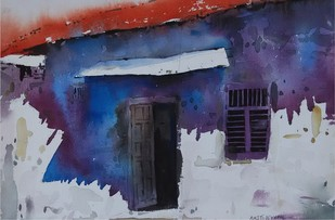 Blue Shadow II by Amit Dewhare, Impressionism Painting, Watercolor on Paper, Blue color