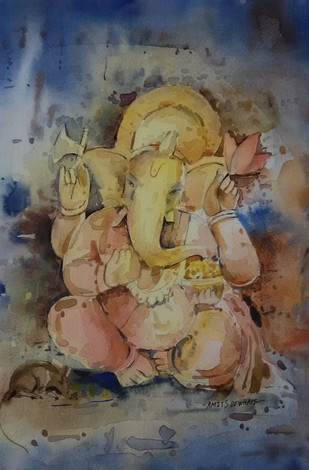 Ganesha by Amit Dewhare, Impressionism Painting, Watercolor on Paper, Brown color