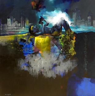 Its My Choice by Pradip Sengupta, Conceptual Painting, Acrylic on Canvas, Gray color