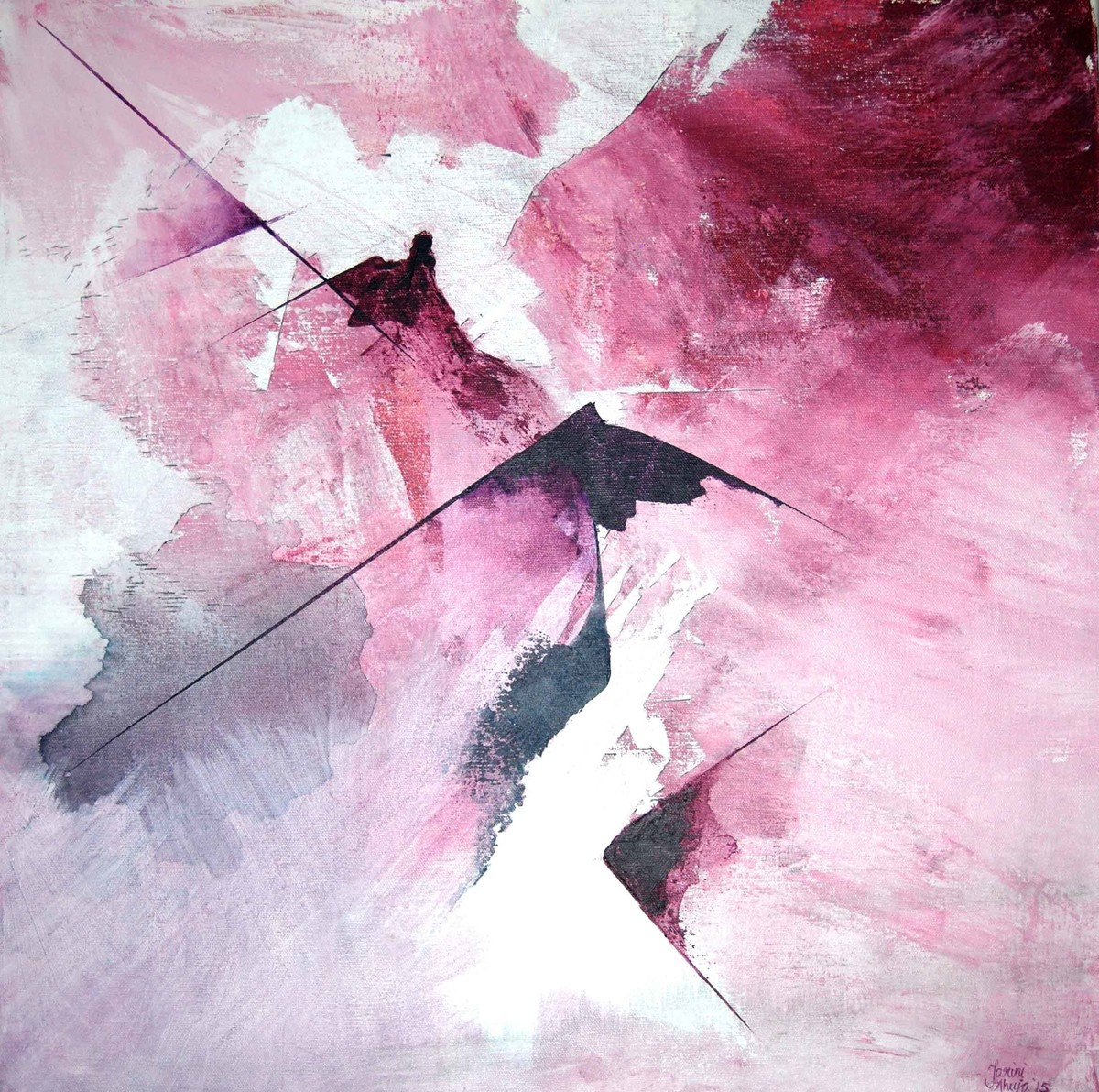 Ever Know (magenta, crimson, Payne's) by Tarini Ahuja, Abstract Painting, Acrylic on Canvas,