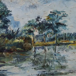Landscape by Amit Dewhare, Impressionism Painting, Oil on Paper, Green color
